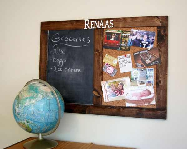 Rustic Personalized Chalk & Cork Bulletin Board 24 X