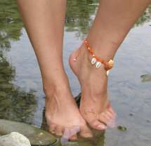 Macrame Barefoot Sandal In Orange With Beads And