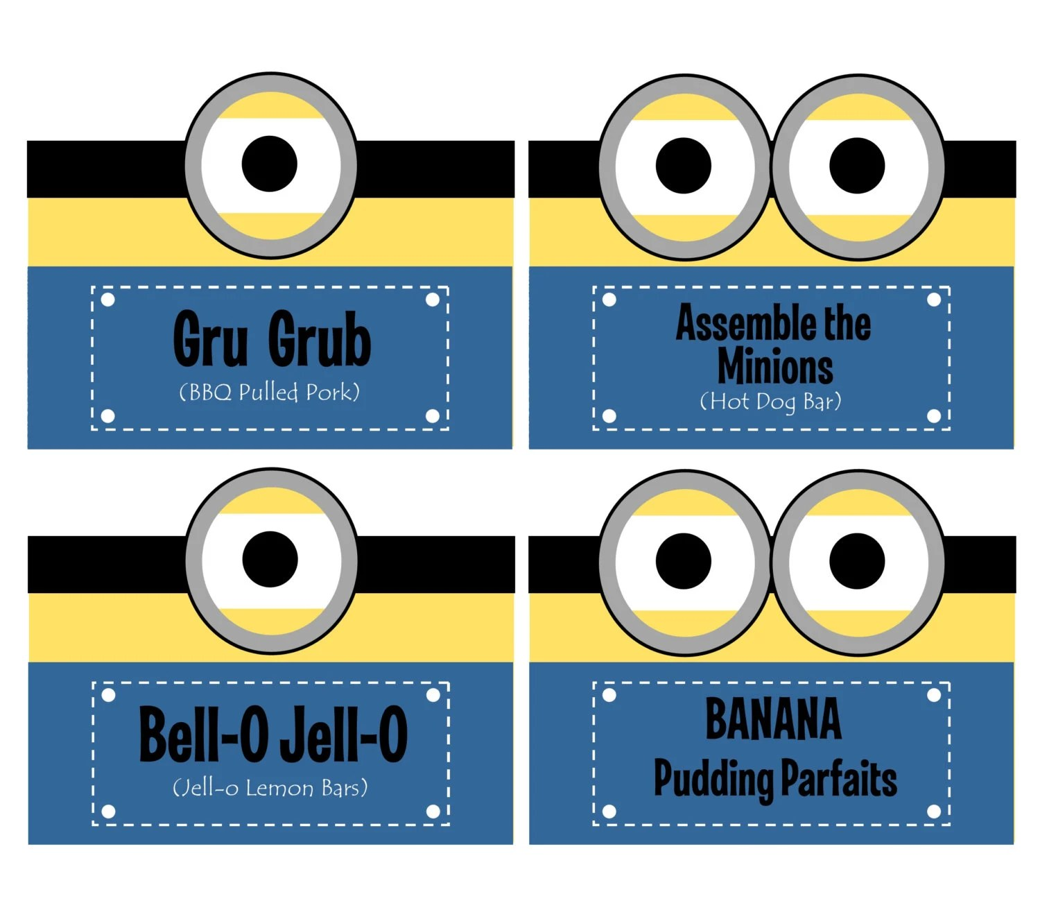 Instant Download Minion Food Labels Folded Food Tents