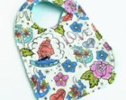 Baby Bib - Aqua Minky with Love Nautical Tattoo Cotton Flannel - Classic Handmade Side Snap Bib