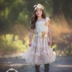 Flower Girl Dress Champagne Lace Rustic
