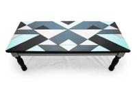 Modern Refinished Blue Black & Grey Coffee Table