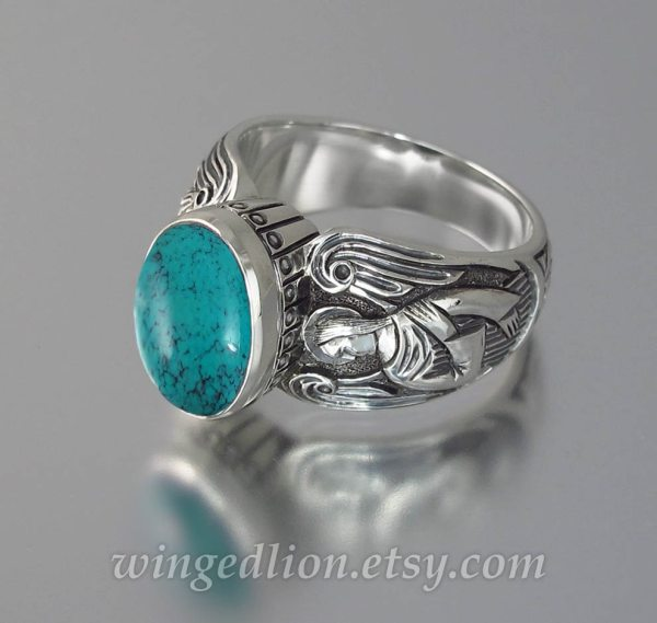 Turquoise Guardian Angels Mens Silver Ring Sizes 8 14