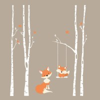 TREES Wall Decal 4 River Birch Trees Nursery Decor FOX Decal
