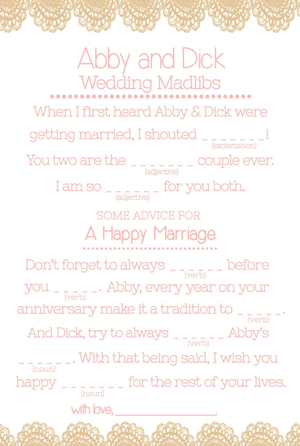 Wedding MAD LIBS Printables Unique Guest Book Alternative