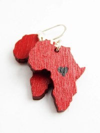 Red Heart Africa Earrings African Jewelry Africa Shaped