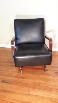 Mid Century Modern Black Vinyl Rocking Lounge Chair ...