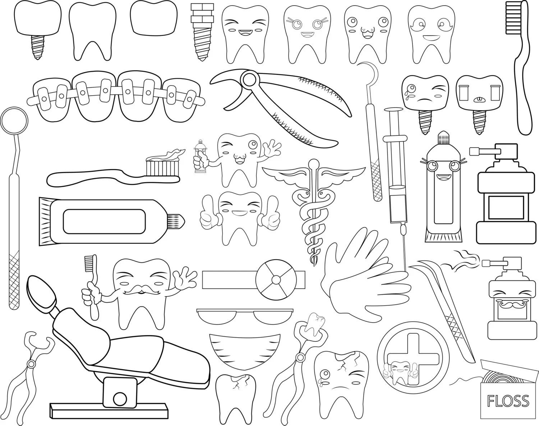 Dentist Set Outline Clipart-Digital Clip Art Graphics