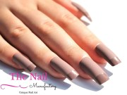 matte chocolate brown fake nails