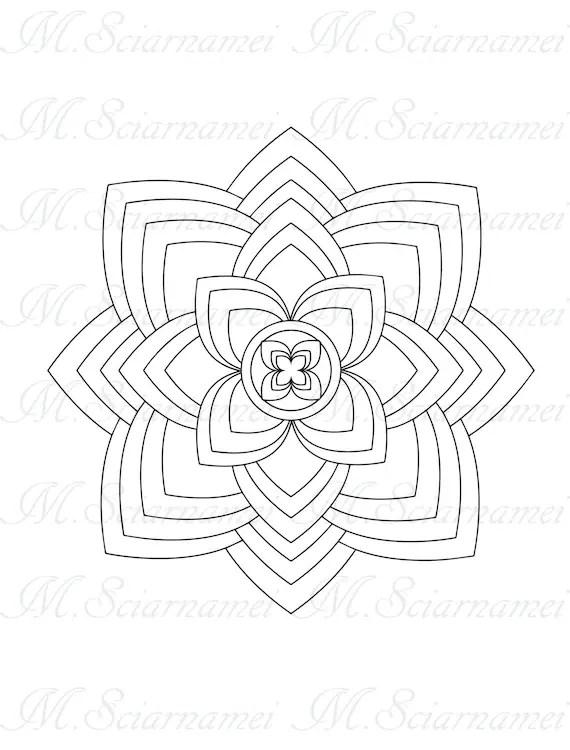 Digital Stamp-Mandala Coloring Page-PDF-Mandala Instant
