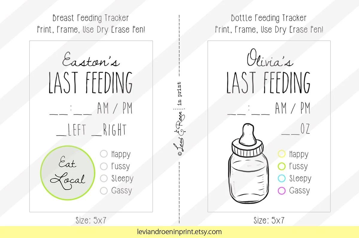 Printable Dry Erase Newborn Feeding Tracker Personalized