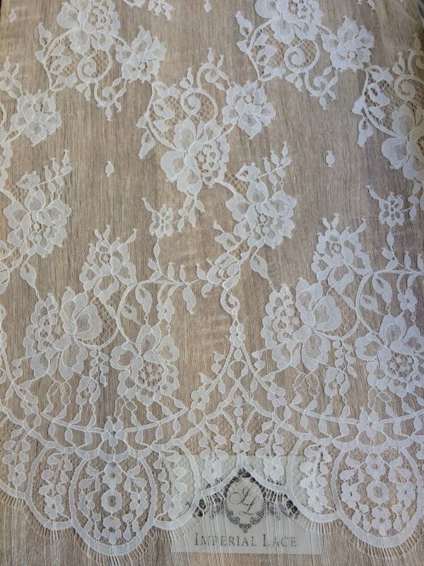 Ivory Lace Fabric Yard French Embroidered