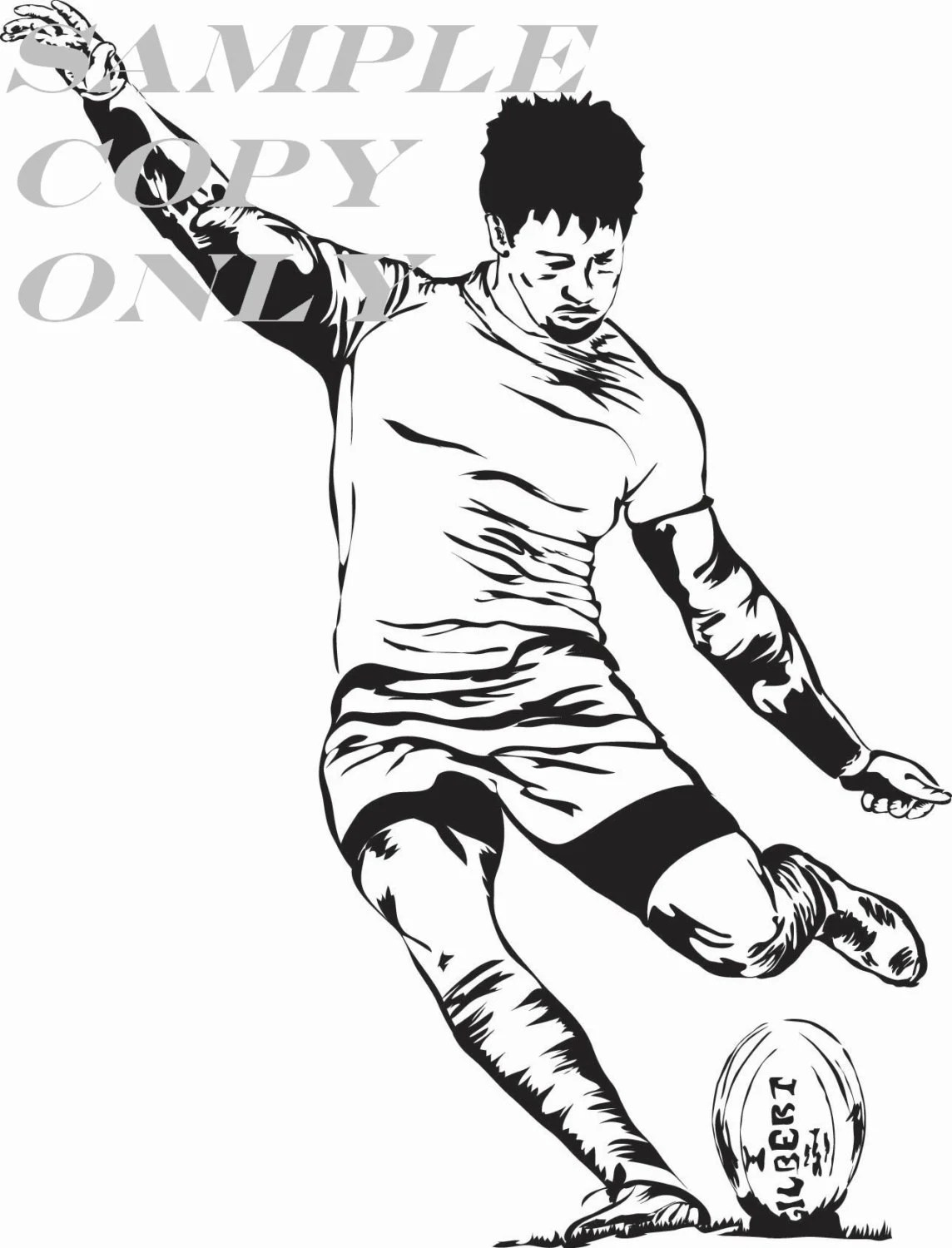 Rugby Kick Illustration Rugby Art Graphic Image by