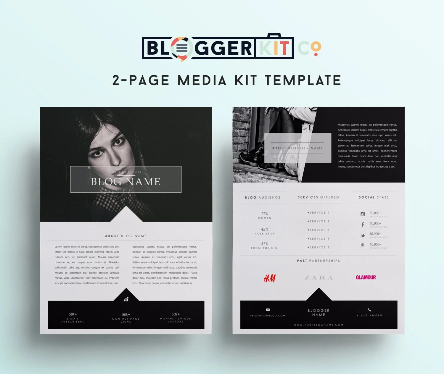 Two Page Media Kit Template Press Kit Template By BloggerKitCo