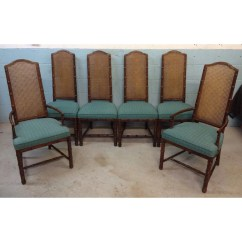 Bamboo Cane Back Chairs Baby Chair Swing Seat Henredon Vintage Faux Dining By
