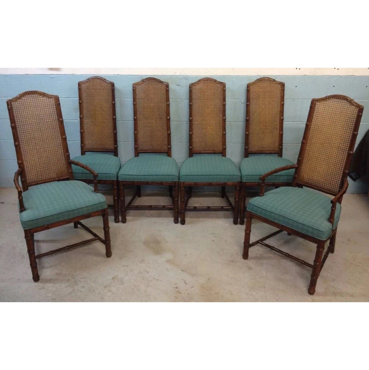 Vintage Cane Back Chairs Henredon Vintage Faux Bamboo Cane Back Dining Chairs By