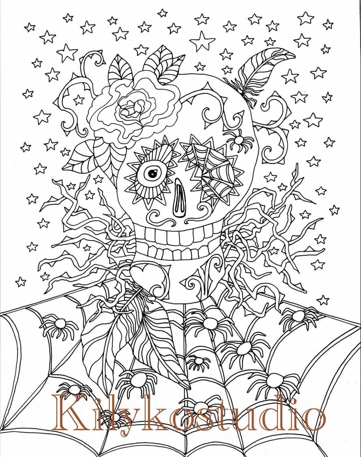 halloween coloring page sugar skull spider web adult