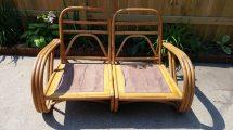Matching Pair Of 1950s Vintage Bamboo Patio Tiki Lounge Chairs