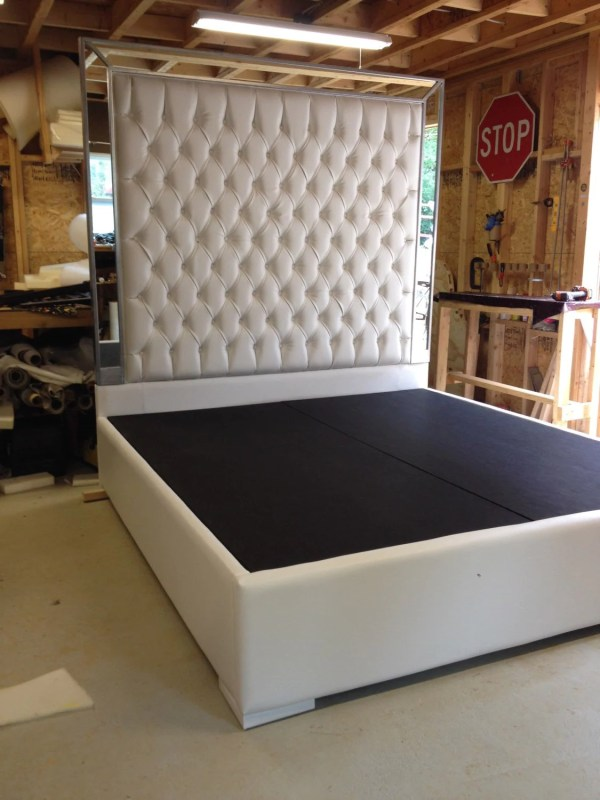 White Faux Leather King Size Platform Bed Queen