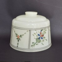 Antique Floral Hand Painted Glass Lamp Shade 2 Available