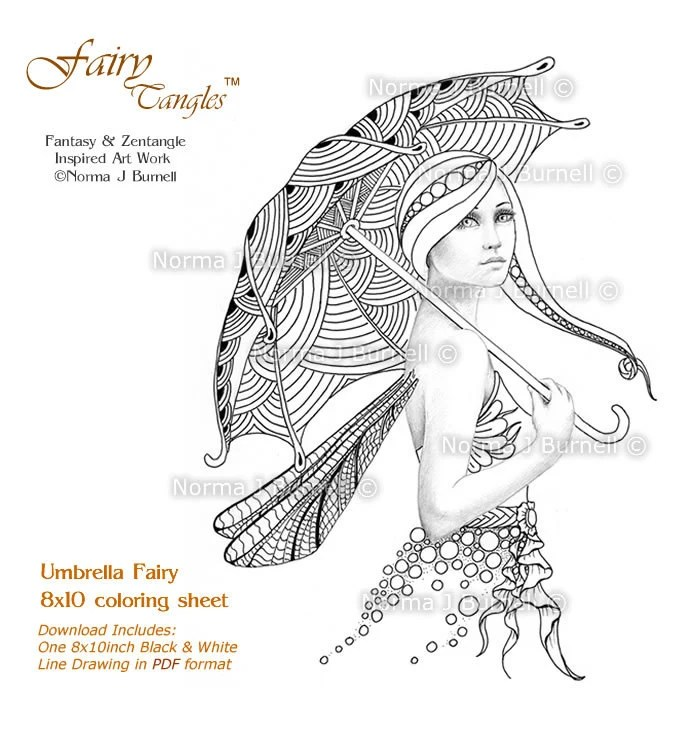 Umbrella Fairy 8x10 inch Adult Coloring Sheet by