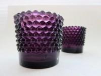 Purple glass Votive Candle holder set Deep Amethyst Purple