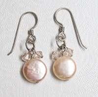 Pink Pearl Earrings Pink Pearl Earrings Crystal Dangles Pale