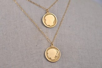 Boy and Girl Personalized Pendant Silhouette Necklaces, Layered Mother's Necklace, Two Chain Girl and Boy, Mother's Jewelry