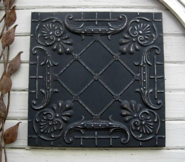 Framed 2'x2' Antique Ceiling Tin Tile. Circa Driveinservice