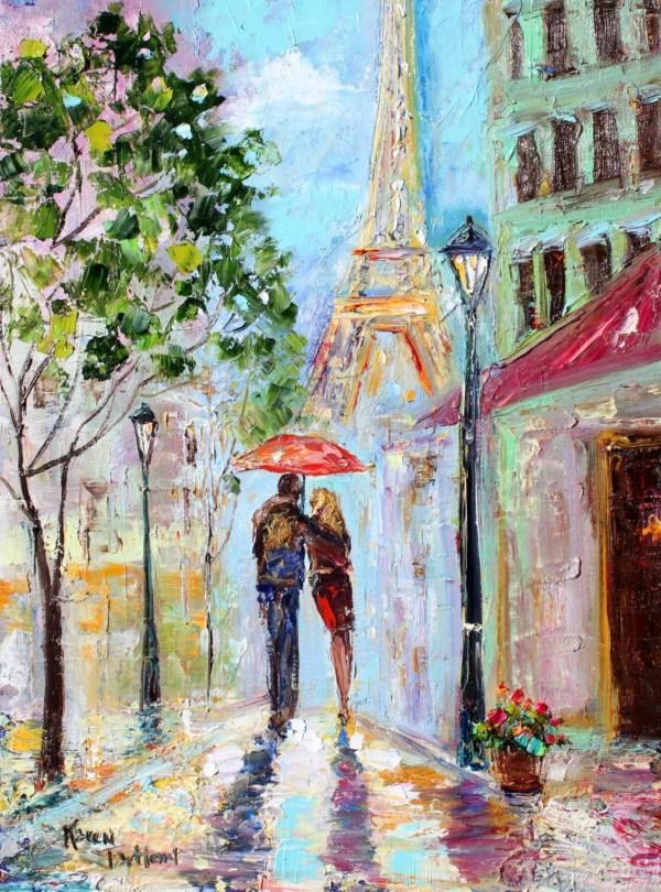 Original Oil Painting Paris Romance Landscape Abstract
