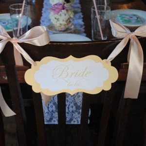 Bridal Shower Chair Sign with the Wording Bride to be Elegant