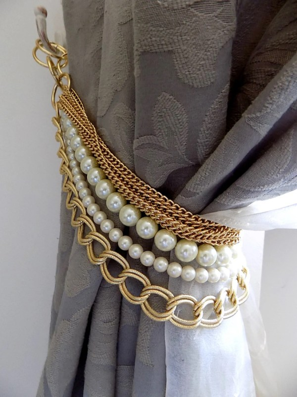 Beaded Decorative Curtain Holder Tie With Golden Chain