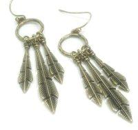 Brass Feather Earrings Long Feather Earrings Metal Feather