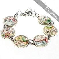 Custom Map Bracelet. Antique Silver. You Select Six Locations. Anywhere In The World. Travel. Map Jewelry.