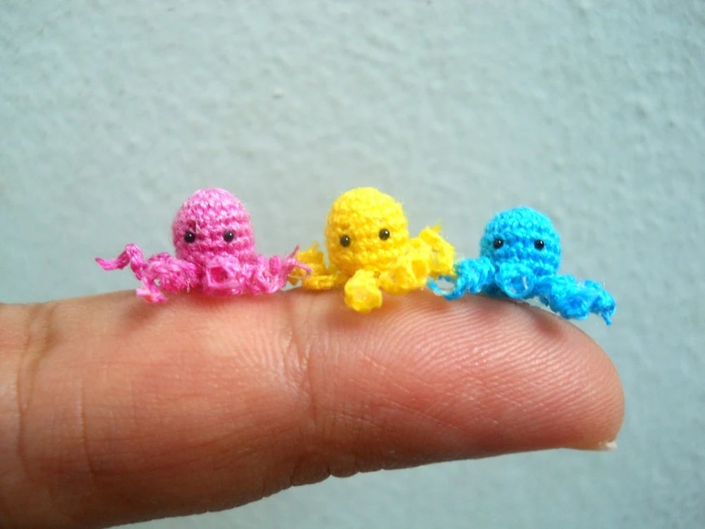 Micro Octopus Stuffed Animal- Tiny Crochet Mini Amigurumi Stuffed Animal - Made to Order