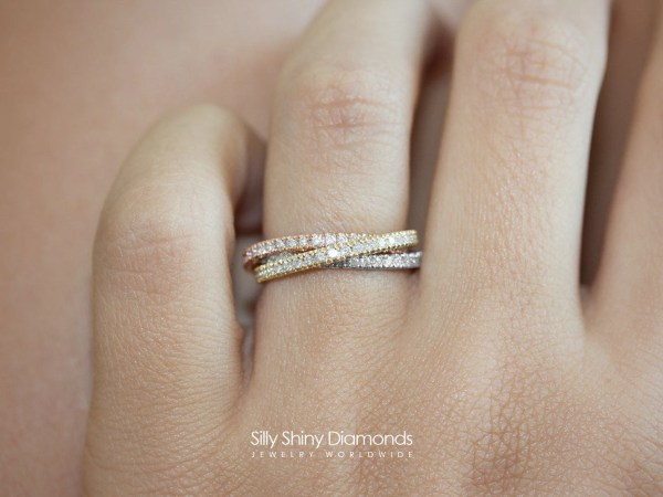 Diamond Rolling Ring Tricolor