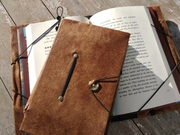 Book cover hands free reading book holder weathered brown