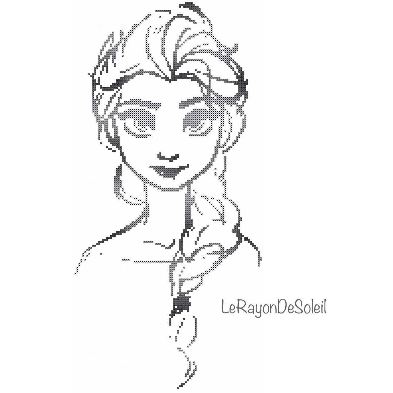 Disney Cross Stitch Pattern Elsa Frozen Sketched Portrait