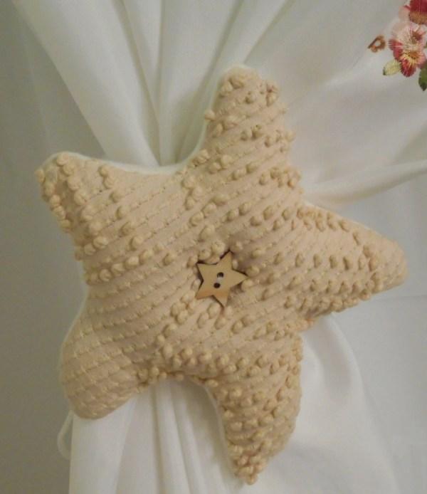 Starfish curtain tie backs chenille starfish tan starfish