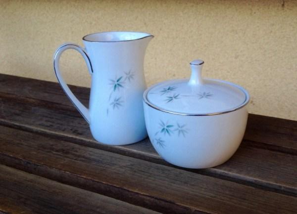 Noritake Midori China Creamer Sugar Bowl Set Fine