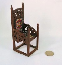Medieval Tudor or Gothic tall wooden chair carved arms and
