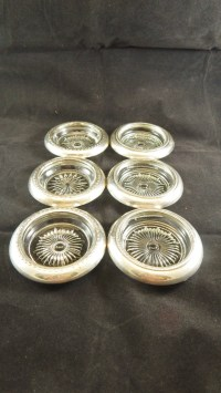 Sterling Silver & Crystal Glass Drink Coasters Set of 6