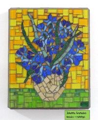 ON HOLD. Van Gogh Irises Glass Mosaic Wall Art Impressionist