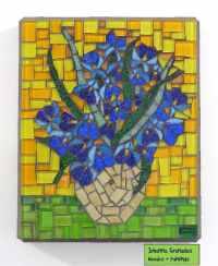 ON HOLD. Van Gogh Irises Glass Mosaic Wall Art Impressionist