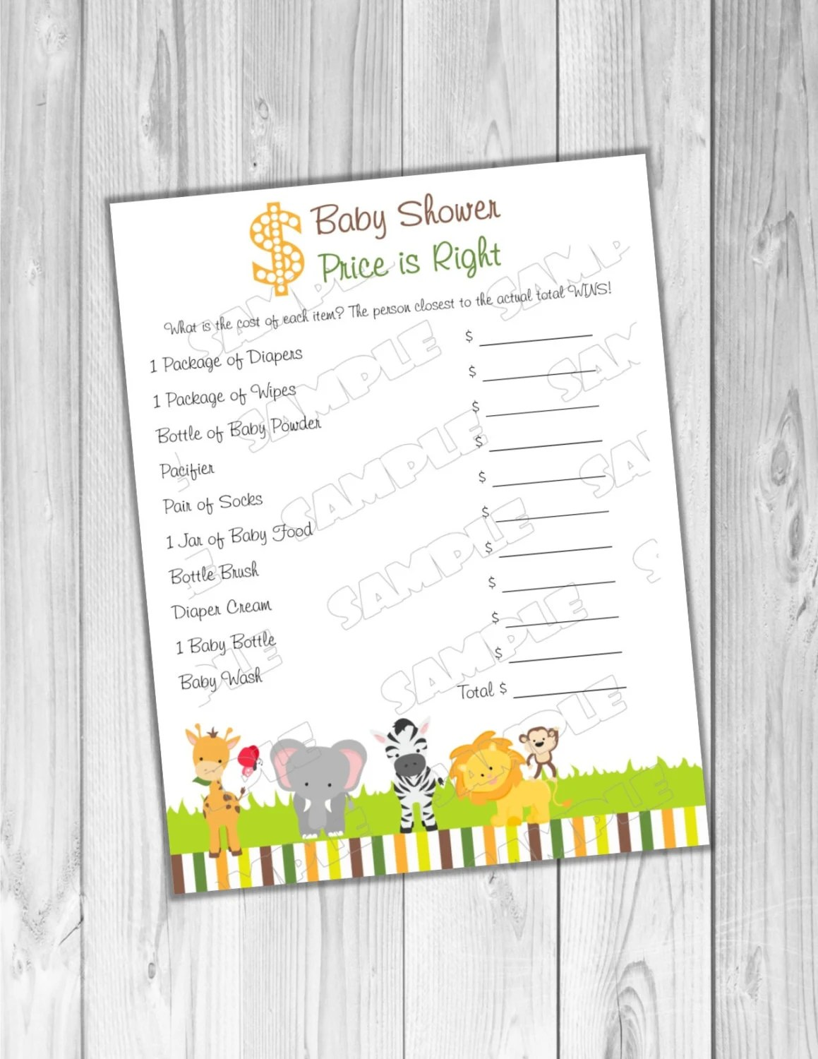 Jungle Safari Baby Shower Games Price Is Right Game Printable