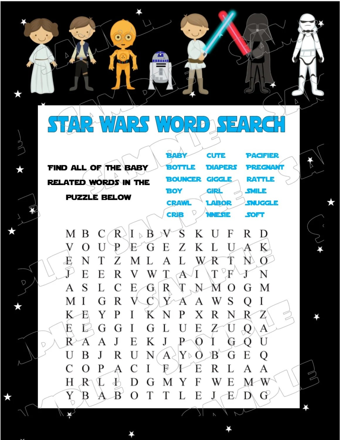 Star Wars Baby Shower Games Starwars Word Search Game