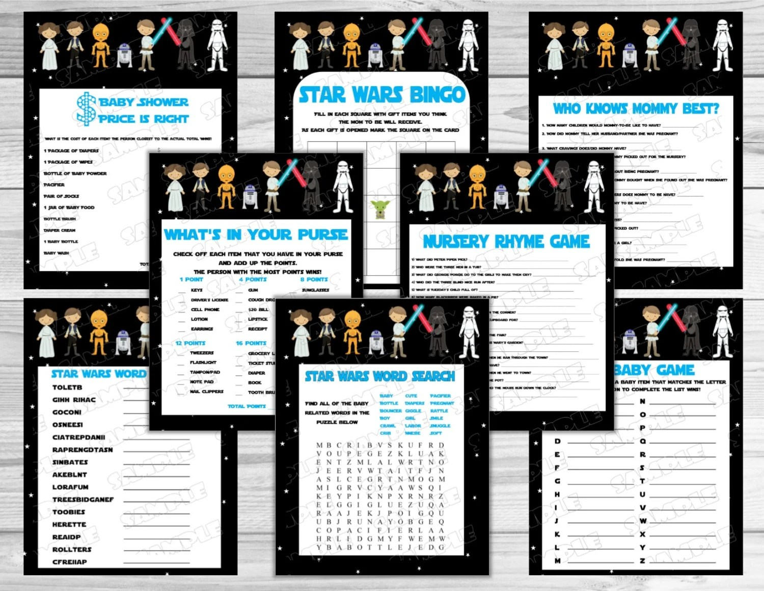 Star Wars Baby Shower Games Set Of 8 Games Starwars Printable