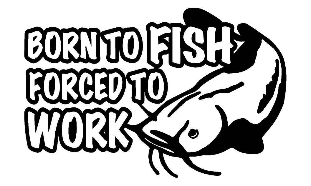 Born To Fish Forced To Work Car Decal w/ Catfish