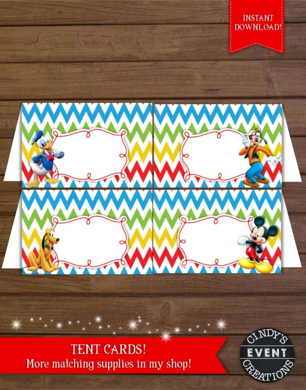 Mickey Mouse Tent Cards Clubhoue