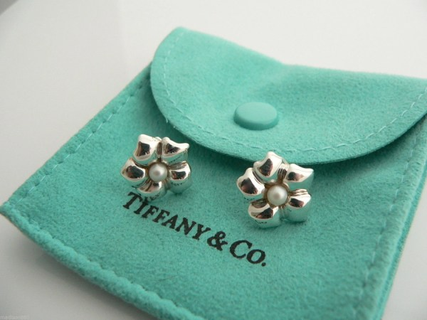 Tiffany & Sterling Silver Flower Pearl Earrings Studs Rare